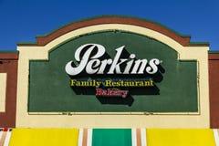 Muncie - Circa mars 2017: Perkins Family Restaurant och bageriläge Perkins och Marie Callender ` s är systerrestauranger I Arkivbild