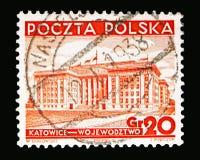 Muncipal budynek, Katowicki, widoki w Polska seria około 1937, Obrazy Royalty Free