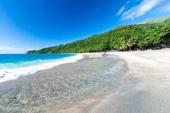 Mund des Flusses zum Meer auf Playa Sana Rafael Beach, Barahona, Dominikanische Republik Stockbilder