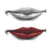Mund mit den roten Lippen in der Stichart Lizenzfreies Stockbild
