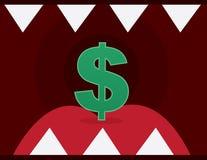 Mund-scharfe Zahn-Dollar-Zeichen Stockfotografie