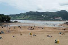 海滩在mundaka,西班牙 库存图片