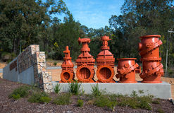 Mundaring Weir Valves. Old Valves on display at the Mundaring weir dam that supplies the Gold Fields potable water Stock Photo