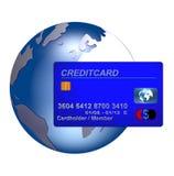 Mundial creditcard azul Fotos de Stock Royalty Free