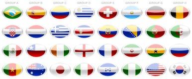 Mundial 2014 de la FIFA de las banderas foto de archivo
