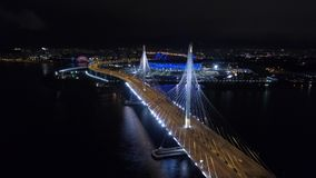 2018 mundial de la FIFA, estadio de Rusia, St Petersburg, St Petersburg, noche, antenas almacen de metraje de vídeo