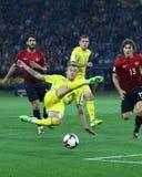 Mundial de la FIFA Ucrania 2018 contra Turquía en Járkov, Ucrania Foto de archivo libre de regalías