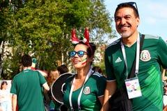 Mundial 2018 de los fanáticos del fútbol foto de archivo