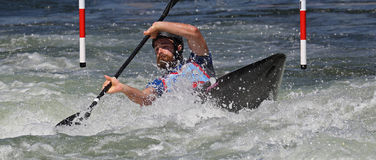 Mundial del eslalom ICF de la canoa - Ben Hayward (Canadá) Foto de archivo libre de regalías