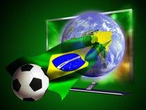 Mundial 2014 del fútbol de la TV Fotografía de archivo libre de regalías