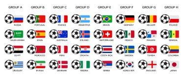 Mundial 2018 del fútbol Rusia 2018 mundiales, grupo del equipo y banderas nacionales Sistema de banderas nacionales del vector stock de ilustración