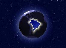 Mundial en el concepto del Brasil (algunos elementos usados de la NASA) Imagen de archivo libre de regalías