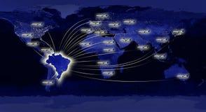 Mundial en el concepto del Brasil (elementos usados de la NASA) Fotografía de archivo