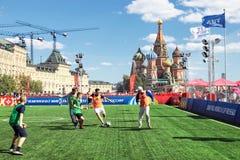 Mundial i Moskva på 02/07/2018 Leken av fans på den röda Squen Royaltyfri Bild