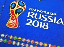 Mundial Rusia de Panini la FIFA 2018 álbumes oficiales de las etiquetas engomadas Fotografía de archivo libre de regalías