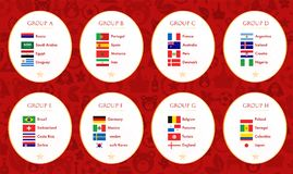 Mundial Rusia del fútbol 2018 grupos Colección del indicador del vector ilustración del vector