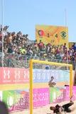 MUNDIALITO - ЦЕЛЬ Португалия против Бразилии Carcavelos 2017 Португалии Стоковое Фото