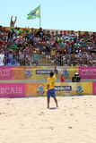 MUNDIALITO - LUCAS CHEER THE FANS. Lucas beach soccer player salutes the fans after victory in carcavelos portugal Stock Photos
