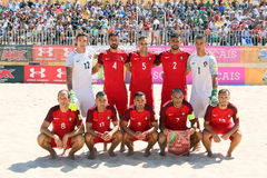 MUNDIALITO - PORTUGUESE Team 2017 Carcavelos Portugal. Portuguese team line up during 2017 beach soccer MUNDIALITO in Portugal Cascais Carcavelos stock photo