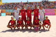 MUNDIALITO - PORTUGUESE Team 2017 Carcavelos Portugal. Portuguese team line up during 2017 beach soccer MUNDIALITO in Portugal Cascais Carcavelos Royalty Free Stock Image