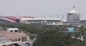 Mundo Abu Dhabi y Yas Marina Circuit de Ferrari en la isla de Yas en Abu Dhabi foto de archivo