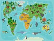 Mundo animal Mapa divertido de la historieta Foto de archivo libre de regalías