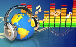 mundo audio do espectro 3d nos fones de ouvido Foto de Stock Royalty Free