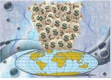 Mundo bajo el dinero Imagen de archivo libre de regalías
