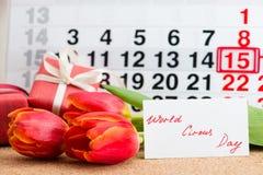 Mundo circo día 15 de abril en calendario Fotos de archivo