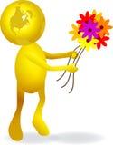 Mundo com flores Imagens de Stock