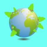 Mundo com trabalho do vetor da ilustração da árvore Imagem de Stock Royalty Free