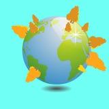 Mundo com trabalho do vetor da ilustração da árvore do outono Foto de Stock