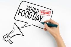 Mundo comida día 16 de octubre Megáfono y texto en un fondo blanco Imagenes de archivo