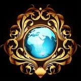 Mundo con el marco adornado Fotos de archivo libres de regalías