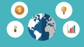Mundo con símbolos del negocio alrededor de la animación de HD metrajes