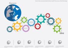 Mundo conducido contragolpe del concepto de la idea del vector El éxito del diseño plano stock de ilustración