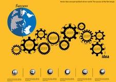 Mundo conducido contragolpe del concepto de la idea del vector El éxito del diseño plano libre illustration