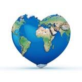 mundo Coração-dado forma Imagem de Stock