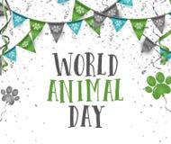 Mundo día banderas animales del partido del empavesado del 4 de octubre con el animal p del perro ilustración del vector