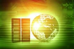 mundo 3d com servidores Fotos de Stock Royalty Free