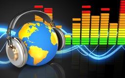 mundo 3d no mundo dos fones de ouvido nos fones de ouvido Imagem de Stock