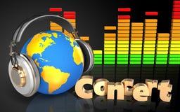 mundo 3d no mundo dos fones de ouvido nos fones de ouvido Imagens de Stock