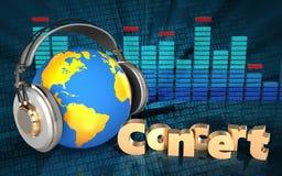 mundo 3d no sinal do concerto dos fones de ouvido Imagens de Stock