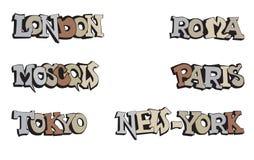 Mundo da cidade dos símbolos. Grupo do ícone do curso. Imagens de Stock Royalty Free