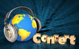 mundo da placa 3d nos fones de ouvido Foto de Stock