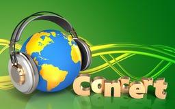 mundo da placa 3d nos fones de ouvido Fotografia de Stock