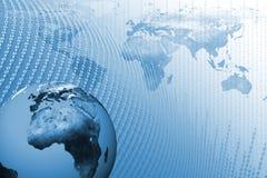 Mundo da tecnologia com fundo dos dados Fotos de Stock