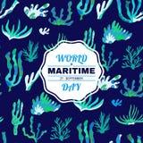 Mundo day2 marítimo ilustração stock