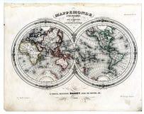 Mundo de 1846 mapas nos hemisférios Fotos de Stock Royalty Free