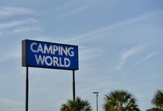 Mundo de acampamento rv, campista, e loja de Motorhome imagem de stock